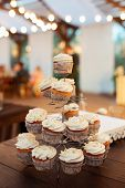 Delicious Cupcakes On Candy Buffet. Modern Weding. Candy Bar poster