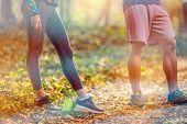 Running. Close Up Of Male Legs And Shoes. Young Man Athlete Fitness Runner Running Shoes. Trail Runn poster