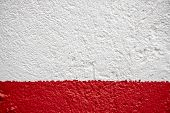 Red And White Painted Wall Photo. Painted Brushed Texture. Grungy Concrete Wall Closeup. Rustic Arch poster