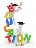 Постер, плакат: Человек с дипломом на текст образования 3D