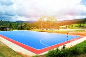 Futsal Field Or Football Field Sport Outdoor White Line Circle Center And Goal Nets / Blue Of Futsal poster