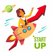 Startup Vector. Rocket Soars Up On Background Of Red Arrow Growthing Up. Business Woman Enjoying Goo poster