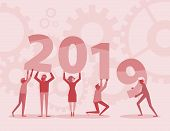 Happy New Year 2019 Text Hold By Team In Flat Style Design Illustration. New Year 2019 Illustration  poster