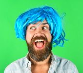 Funny Bearded Man Wearing Blue Wig. Handsome Bearded Man With Stylish Mustache In Wig. Fashion, Art  poster