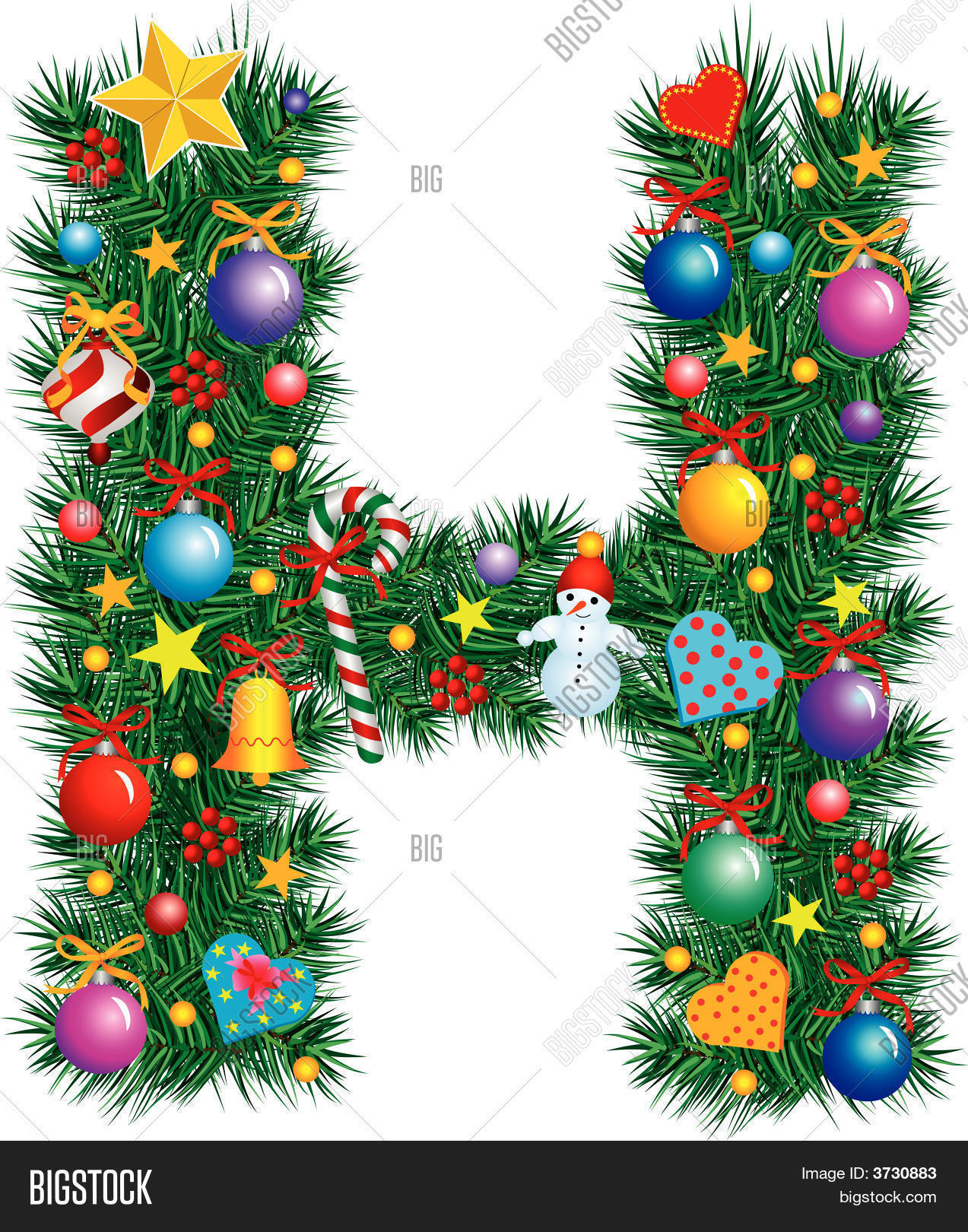 Tree Branch Decorations In The Home Alphabet Letter H Christmas Vector Amp Photo Bigstock