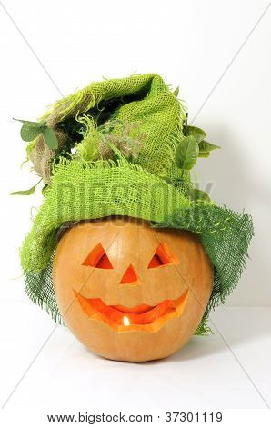 Pumpkin With Green Halloween Hat On