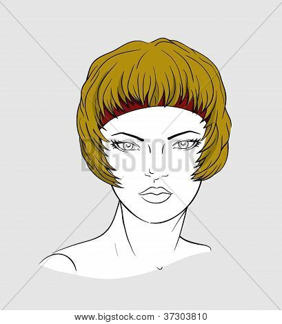 Face of woman with an elastic band for hair-dressing