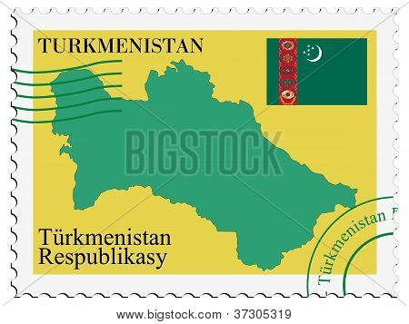 stamp with map and flag of Turkmenistan