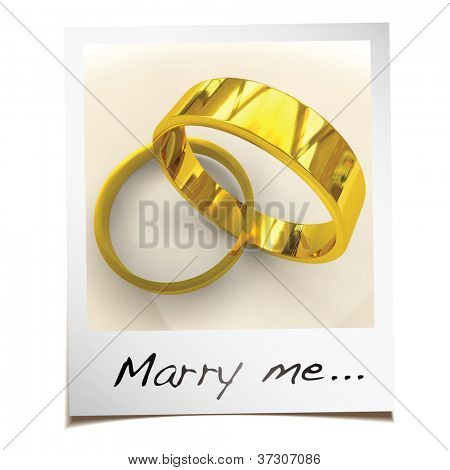 Romantic wedding proposal with instant photgraph and gold rings