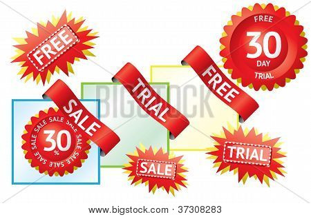 Set Of Sale Labels And Ribbons