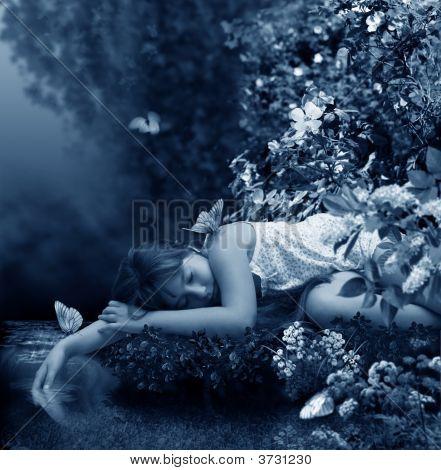 Girl Sleeps Beside Brook