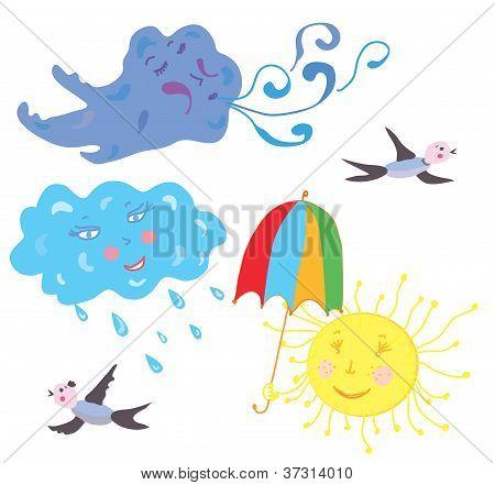 Sun wind rain cloud weather funny
