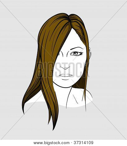 Face of woman with  long straight hair