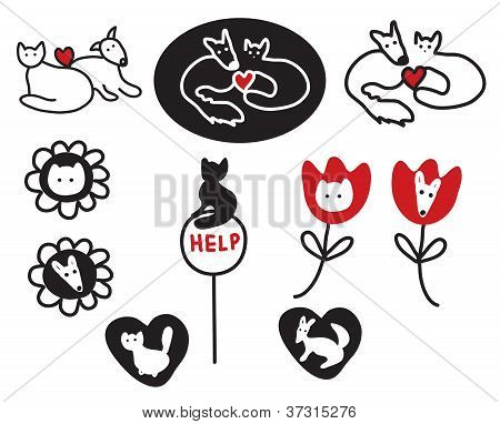 Animal protections and veterinary signs symbols