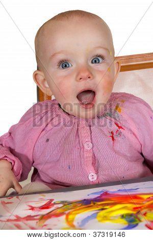 Aufgeregt Baby Mädchen-Maler