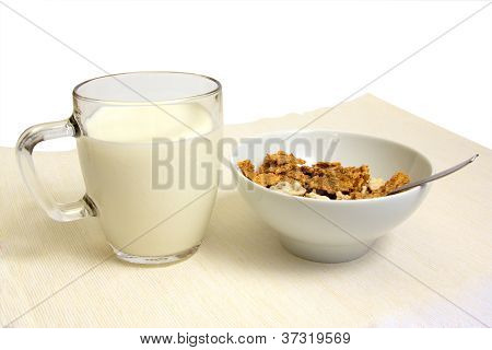 Corn Flakes And Glass With Milk.