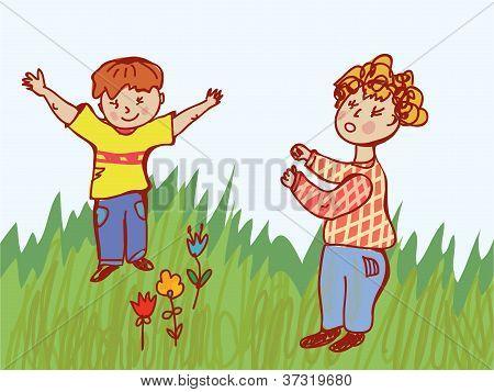 Children fighting - behavior illustration