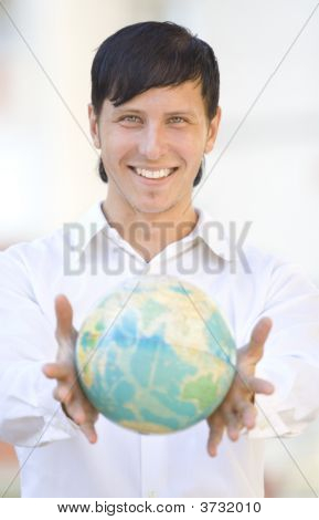 Smile Man With Globe