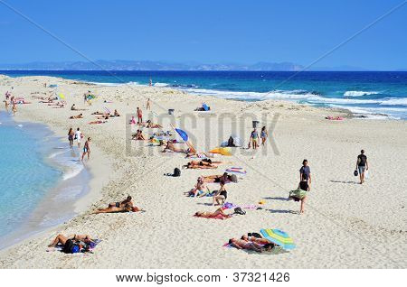 FORMENTERA, SPAIN - SEPTEMBER 20: Ses Illetes Beach on September 20, 2012 in Formentera, Balearic Islands, Spain. Formentera is renowned across Europe for many white beaches like Ses Illetes