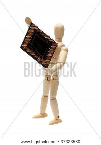 Wooden Doll With Semiconductor