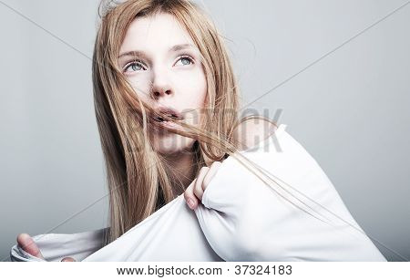 Nightmare - Frightened Lovely Woman Blonde In White Clothes