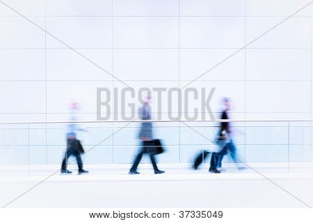 Many Business People In Blurred Motion
