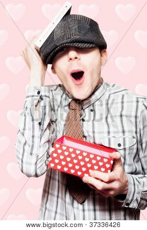 School Boy In Love Holding Valentines Day Present