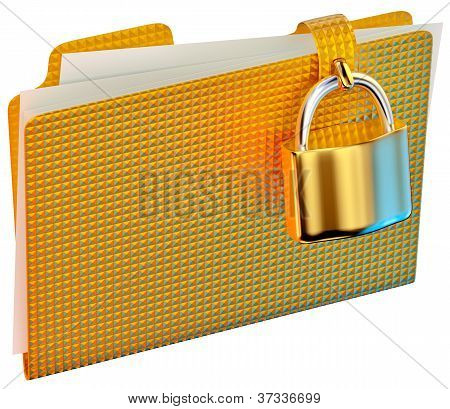 yellow folder with hinged lock