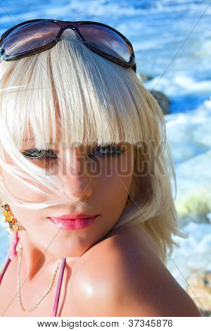 The Sexual Young Blonde The Girl On A Beach