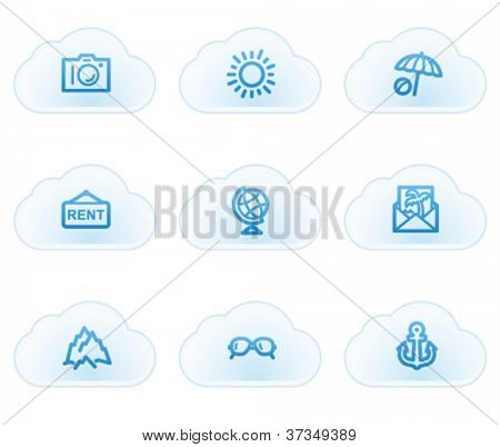 Travel web icons set 5, cloud buttons