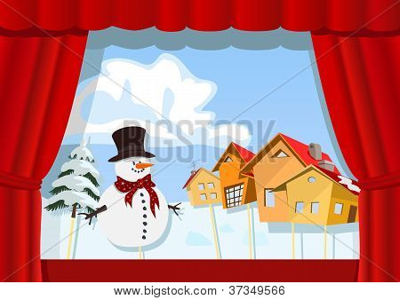 Christmas Puppet Theater. Village Of Snowman