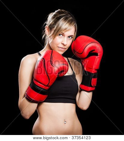 Portrait of a beautiful female boxer