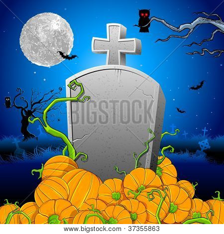 ilustração da abóbora em torno da pedra tumular na noite de Halloween