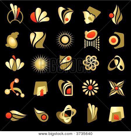 Vector Set Of Design Gold Elements