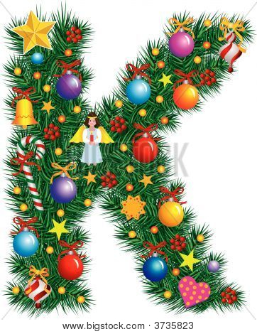 Alphabet Letter K - Christmas Decoration