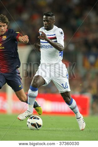 BARCELONA - AUG, 20: Pedro Obiang of UC Sampdoria in action during Joan Gamper Trophy match between FC Barcelona and UC Sampdoria at Nou Camp Stadium in Barcelona, Spain. August 20, 2012