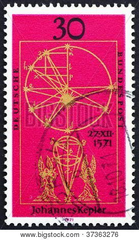Postage stamp Germany 1971 Illustration from New Astronomy by Ke