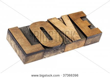 love word - isolated text in vintage letterpress wood type printing blocks