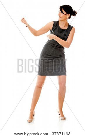Business woman pulling an imaginary rope - isolated over white