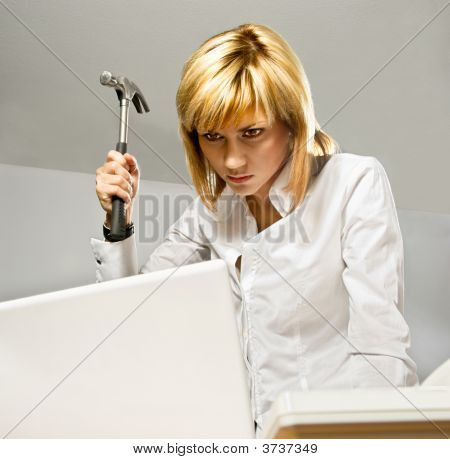 Business Lady With A Hammer