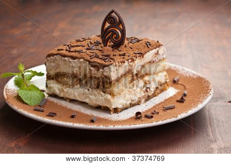 Slice of self-made italian tiramisu dessert served on a plate