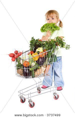 Little Girl Shopping Vegetables