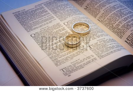 Wedding Bands On A Bible