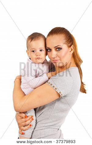 Mother Embracing Crying Baby