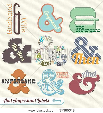 Vector Set:Vintage Ampersand Labels