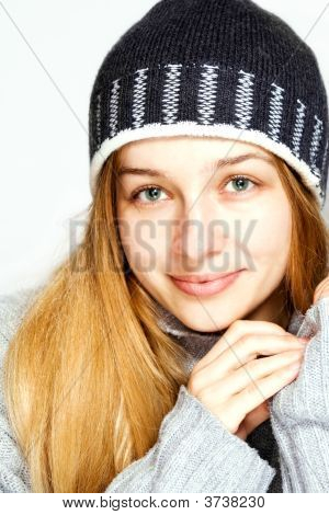 Seasonal Winter Portrait Of Beautiful Model
