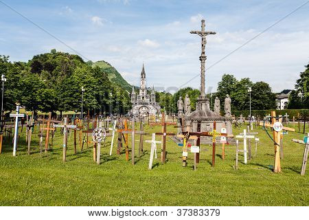 Crosses And The  Basilica In The Distance