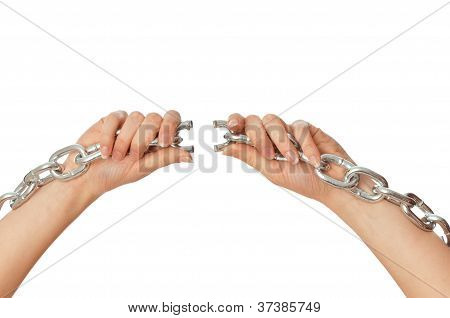 tearing a heavy chain