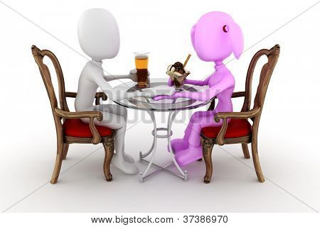 3d man couple restaurant dinner