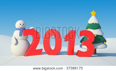 Snowman, Christmas tree and 2013 text